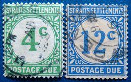STRAITS SETTLEMENTS 1924 4c,12c Due USED ScottJ3,J6 CV$7 - Straits Settlements