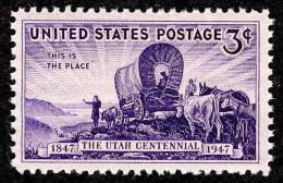 1947 USA Utah Centennial Stamp Sc#950 Ox Horse Sun Light - Climate & Meteorology