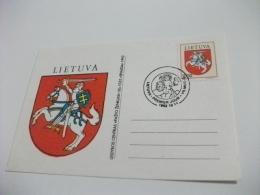 Cartolina Postale Carte Postale LIETUVA STEMMA CAVALIERE MAXIMUM - Lituania