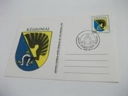 Cartolina Postale Carte Postale LIETUVA STEMMA KEDAINIAI MAXIMUM - Lituania