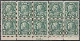 UNITED STATES      SCOTT NO  552    MNH     YEAR   1922    PLATE BLOCK OF 10  -VERY SCARCE - United States