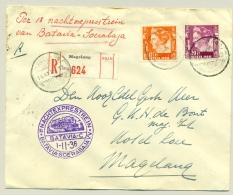 Nederlands Indië - 1936 - R-cover Met PV Magelang, LBnr Magelang En Nachtexprestrein Batavia - Indes Néerlandaises