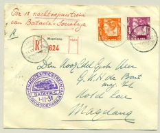 Nederlands Indië - 1936 - R-cover Met PV Magelang, LBnr Magelang En Nachtexprestrein Batavia - Niederländisch-Indien