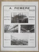 1922 - Page Originale ARCHITECTURE INDUSTRIELLE - Contruction Métallique Angers , Combrée Et Joué Les Tours - Ets REMERE - Architecture