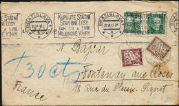 Frankeich Portomarken Yvert 29, 37 Michel 29, 33 Auf Brief Bratislava 22.VII 1931 Tchechoslowakei - Siehe 2 Scans - Portomarken