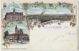 Gruss Aus Neunkirchen Litho Color Karl Schwidernoch No 1979 Josef Lobel  P. Used 1897 Austria  To Baden - Kreis Neunkirchen