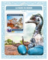 TOGO 2016 - Fauna Of World 2: Ostrich, S/S. Official Issue.