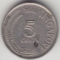 @Y@    Singapore  5 Cents   1980     (3977) - Singapore
