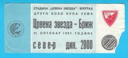 FCRED STAR : CLUB BRUGGE KV Belgium - 1987. UEFA CUP Football Soccer Ticket Fussball Futbol Foot Billet Belgie - Eintrittskarten