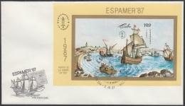 1987-FDC-48 CUBA. FDC. 1987. EXPOSICION FILATELICA AMERICA Y EUROPA. ESPAMER. BARCOS. SHIPS - FDC
