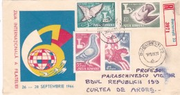 BV5557  STAMPS DAY 1965, FULL SET STAMPS ON RGD COVER ROMANIA. - 1948-.... Republics