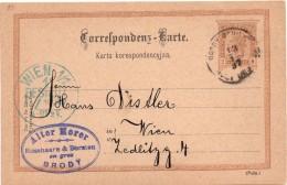Ganzsache, Karta Korespondencyjna, BRODY, (Lviv Oblast - Ukraine) Nach Wien 13.1.1897 - Stamped Stationery