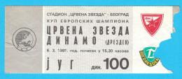 FCRED STAR : SG DYNAMO DRESDEN Germany - 1991. UEFA CHAMPIONS LEAGUE Football Soccer Ticket Billet Fussball Deutschland - Match Tickets