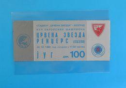 FCRED STAR : RANGERS FC Glasgow Scotland - 1990 UEFA CHAMPIONS LEAGUE Football Soccer Ticket Billet Foot Futbol Fussball - Match Tickets