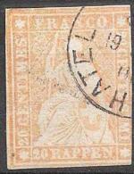 III.Periode Faden Grün 1858: 20 RAPPEN Orange Zu 25 G Mi 16IIBym Mit O NEUCHATEL ?.?.61 (Zu CHF 95.00) - Oblitérés