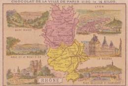 1900 CARTE DU DEPARTEMENT DU RHONE / PUBLICITE CHOCOLAT DE LA VILLE DE PARIS - France