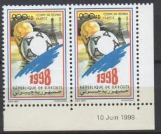 DJIBOUTI DATE CORNER COIN DATE CDF SOCCER WORLD CUP COUPE MONDE FOOTBALL FRANCE 1998 MNH ** RARE - Coupe Du Monde