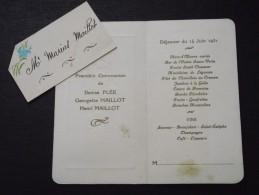 MENU De PREMIERE COMMUNION De D. Plée, G. Maillot Et H. Maillot -Déjeuner Du 14 Juin 1931 - A Voir ! - Menú