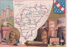1900 CARTE DU DEPARTEMENT DE LA CHARENTE / DRAPS PAPIER BALZAC - Non Classés