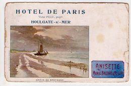 HOULGATE   HOTEL DE PARIS VICTOR  PILLU PROP Carte Publicitaire Marie Brizard - Houlgate