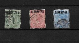 Gibraltar 1886 QV Bermuda Stamps Optd Gibraltar, 0.5d,1d,and 2.5d (4890) - Gibilterra