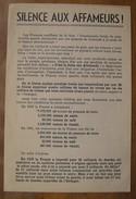 """1942 TRACT VICHYSTE COLLABO """"SILENCE AUX AFFAMEURS""""LES FRANCAIS SOUFFRENT DE LA FAIM CE N'EST PAS LA FAUTE AUX ALLEMANDS - 1939-45"""