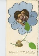 """FEMMES - FRAU - LADY - Jolie Carte Fantaisie Avec Paillettes Et Ajoutis Tissu Couple Amoureux """"Vive Saint Valentin """" - Valentine's Day"""