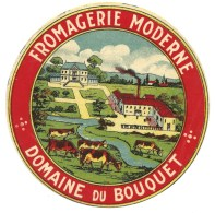 Ancienne Etiquette Fromage  Camembert Fromagerie Moderne Domaine Du Bouquet Vaches - Fromage