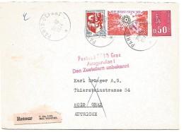 GRIFFES DIVERSES SUR LETTRE RETOURNEE D'AUTRICHE 1974 - Marcofilie (Brieven)