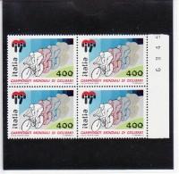 1985 - CAMPIONATI MONDIALI DI CICLISMO QUARTINA NUOVA MNH**  VEDI++++ - 6. 1946-.. Republik