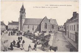 Marolles Les Braults--la Place De L'eglise Un Jour De Marché - Marolles-les-Braults