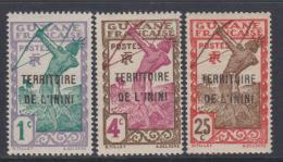 Inini N° 1 + 3 + 8 XX Timbres De Guyane Surchargé : Partie De Série :    Les 3 Valeurs Sans Charnière, TB - Inini (1932-1947)