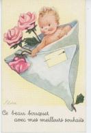 """ENFANTS - LITTLE GIRL - MAEDCHEN - Jolie Carte Fantaisie Fillette """"Ce Beau Bouquet Avec Mes Meilleurs Souhaits"""" - ILDA - Otros Ilustradores"""