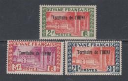 Inini N° 24 / 25 + 28  X Timbres De Guyane Surchargé : Partie De Série, Les 3 Valeurs  Trace De Charnière Sinon TB - Inini (1932-1947)