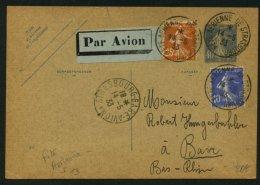 Carte Entier Par AVION Affrt Tricolore Oblt Fête Aériènne De SRASBOURG + STRASBOURG GARE AVION - Marcophilie (Lettres)