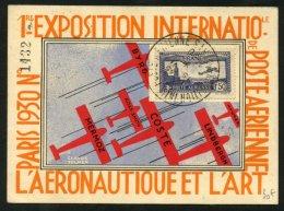 Carte Recommandée Par AVION Affrt PA 1F50 Outremer Oblt EXPOSITION INTle POSTE AERIENNE 1930 PARIS - Marcophilie (Lettres)