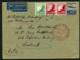 Pli Par Zeppelin LZ 129 > NORTAMERIKA FAHRT Afrt à 4 Timbres Oblt SPEYER > DETROIT - Aéreo