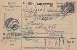 DR Paketkarte Mif Minr.91II,3x 115 Langerwehe 7.1.21 Gel. In Schweiz - Germania