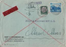 DR Brief Eilbote Mif Minr.525,767 Leipzig 12.9.41 Gel. In Schweiz Zensur - Briefe U. Dokumente
