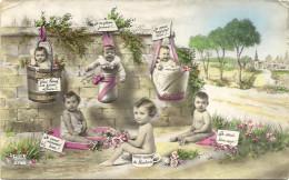 GROUPE  DE  BEBES   DONT SUR  POT  DE  CHAMBRE - Kinderen