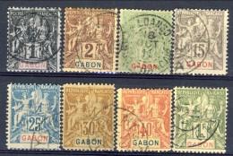 Gabon 1904-07 Lotto Di 8 Bolli Della Serie 16-32 USATI Catalogo € 104 - Used Stamps