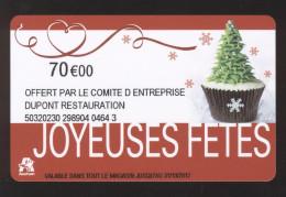 GIFT CARD - Carte Cadeau Auchan - JOYEUSES FETES - 70 € CE DUPONT RESTAURATION - Cartes Cadeaux