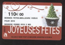 GIFT CARD - Carte Cadeau Auchan - JOYEUSES FETES - 110 € MEILLEURS VOEUX - Cartes Cadeaux