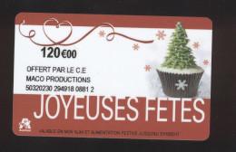 GIFT CARD - Carte Cadeau Auchan - JOYEUSES FETES - 120 € CE MACO PRODUCTIONS - Cartes Cadeaux