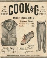 Ancienne Publicité (1926) : COOK & CIE, Modes Masculines, Pantalon Tennis, Chemise De Sport, Chaussure Spécial Tenni - Advertising