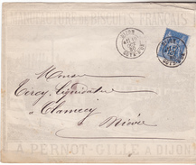 1880 Dijon Lettre Illustrée( Precurseur) Manufacture De Biscuits A PERNOT-GILLE.tp 15 Cts Sage TB Complete - Marcophilie (Lettres)