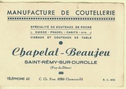 63 - Puy-de-Dôme - Saint-Rémy-sur-Durolle Manufacture De Coutellerie Chapelat Beaujeu - Visiting Cards