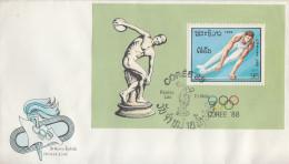 Enveloppe FDC  1er  Jour   LAOS   Bloc  Feuillet   JEUX   OLYMPIQUES     SEOUL    1988