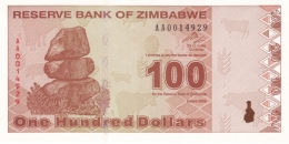 ZIMBABWE 100 DOLLARS 2009 P-97 UNC  [ZW188a] - Simbabwe