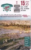 TARJETA DE JORDANIA DE 15JD DE UNAS RUINAS DE FECHA 5/98 Y TIRADA 20000 - Giordania